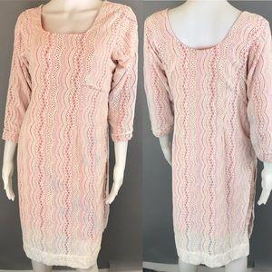 Vintage Lace Dress Slits Home Sewn White Orange